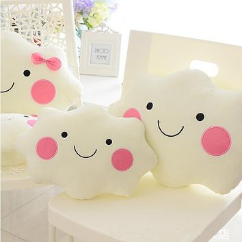 35cm Kawaii Soft Plush Smiley Face Bow Cloud Pillow 100% Cotton Stuffed Back Cushion Seat Cushion Christmas Gifts Plush Toy