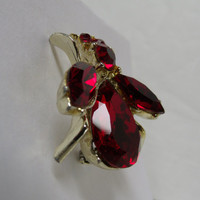 Vintage Red Cut Rhinestone Bug Brooch