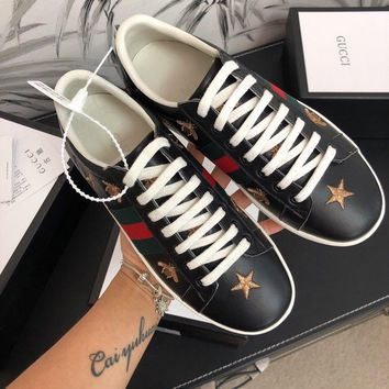Gucci Old Skool Women Fashion Embroidery Bee Sneakers Sport Shoes black