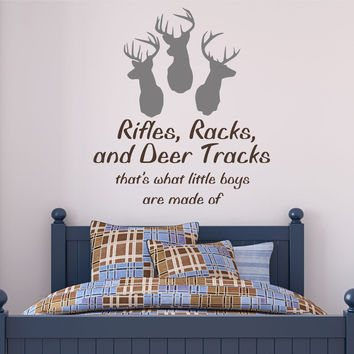 Rifles, Racks, and Deer Tracks Decal -by Decor Designs Decals, Hunting decal Deer decal Hunting decal Deer wall decal Hunting decor Hunting sticker Buck decal