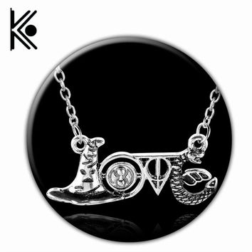 hogwarts jewelry Hat the deathly hallows necklace Time Turner pendant snake accessories love necklace birthday gift