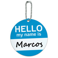 Marcos Hello My Name Is Round ID Card Luggage Tag