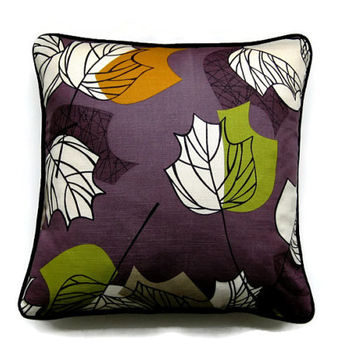 "Cushion, throw pillow, home decor, 18 x 18 inches, Sanderson ""Maple"" orange, green and cream leaves on a purple cotton print"