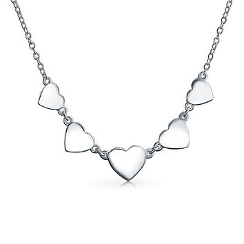 5 Sweet Heart Love High 925 Sterling Silver Choker Collar Necklace