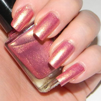 Pink Nail Polish With Golden Shimmer DIVINE