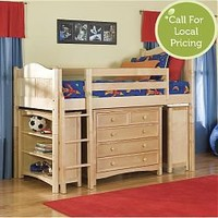 Cottage Low Loft Bed w/2Bookcases and Five Drawer Dresser in Natural