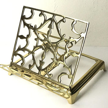 Antique Brass Book Stand / Sheet Music Cookbook Recipe Holder Display / Ornate Gold Cutwork Filigree / Collapsible Folding Ledge Art Easel