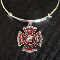 Firefighter Red Crystal Expandable Charm Bracelet Adjustable Wire Bangle Gift Trendy Fun Unique Fire Fighter Wife Gift