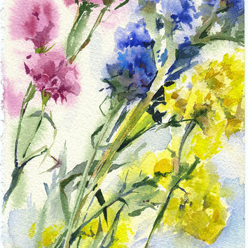 Limonium flowers watercolor - original purple and yellow flowers painting paper
