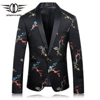 Casual Blazers Men Fashion Men Floral Blazer Slim Fit Men Stage Wear High Quality Prom Blazers