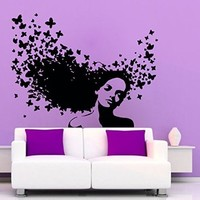 Wall Decals Vinyl Sticker Girl Butterflies in Hair Beauty Salon Decal Art Mural Hairdressing Home Interior Design Living Room Bedroom Decor KT126