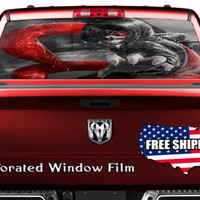 Anime Ghost Ninja Red Flames Full Color Print Perforated Film Truck SUV Back Window Sticker Perf002
