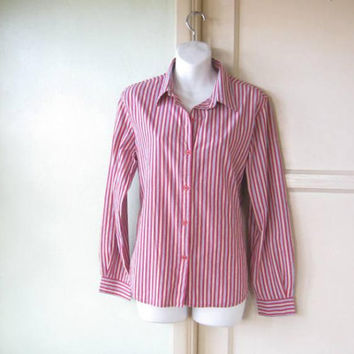 Nicely Tailored Yellow/White/Blue/Red Stripe Shirt; Women's Medium Long Sleeve Cotton Blouse; U.S. Shipping Included
