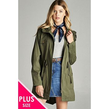 Ladies fashion plus size essential hooded utility jacket