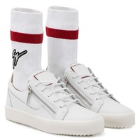 Giuseppe Zanotti Gz Frankie Plus White Calfskin Leather Low-top Sneaker With White And Red Sock With Logo