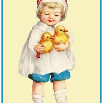 Vintage Easter Young Child Red Hat and Baby Chicks Counted Cross Stitch or Counted Needlepoint Pattern