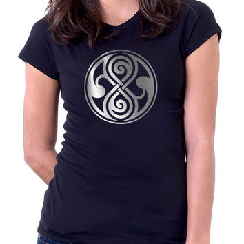Rassilon Doctor Who Silver Black Ladies Fit T-Shirt