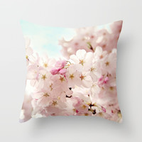 cherry blossoms Throw Pillow by sylviacookphotography