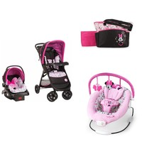 Disney Minnie Baby Baby Gear Bundle Collection,Stroller Travel System,Bouncer and Diaper Bag