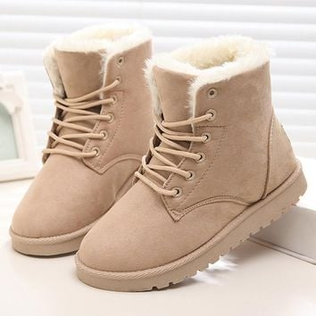 Women Boots Snow Warm Winter Boots Botas Lace Up Mujer Fur Ankle Boots Ladies Winter Shoes Black