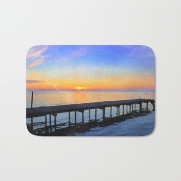 Summer Lake Waccamaw Sunrise - watercolor rendition Bath Mat by Scott Hervieux
