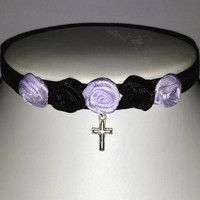 Pastel Goth Choker Lilac Rose Cross Black Velvet Necklace Collar Lolita Jewelry