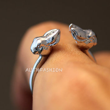 Tiny Animal Twins Ring Kitty Cat Little Bunny Bambi Horse Fox Adjustable Free Size Open Wrap Ring Silver tone plated gift idea
