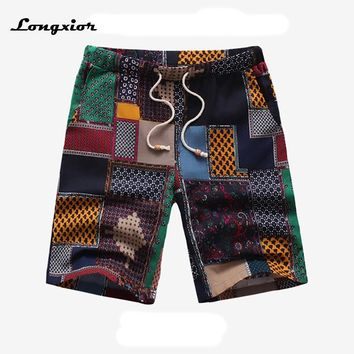 WP17 2017 casual summer mens beach shorts linen and cotton blend 14 patterns Floral cargo shorts jogger men big size M-6XL