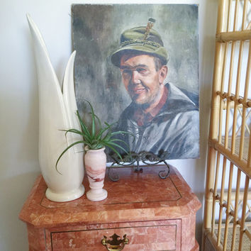 Antique Oil on Canvas Male Folk Portrait / Home Decor, Wall Decor, Vintage, Prop, Display