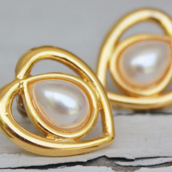 Gold Heart Pearl Earrings, Signed Earrings, Post Bridal Vintage Earrings