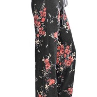 Flowered Casual Lounge Pants in Charcoal
