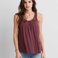 AEO Lace Gauze Tank, Purple