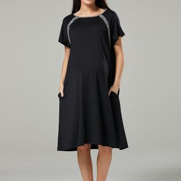 Jersey Pocket Labor & Delivery Gown in Black