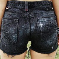 Galaxy Shorts High Waisted Denim Shorts Women's Clothing Space Cut Offs Jean Summer Coachella Tumblr Fashion Hipster Wear