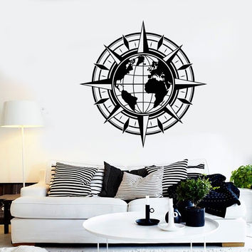 Vinyl Wall Decal Map Of World Compass Travel Globe Earth Stickers Unique Gift (1442ig)