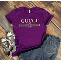 """Gucci""New Fashion Summer Hot Letters Print Women Men T-shirt Top Purple"