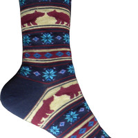 Bear Kisses Crew Socks in Navy