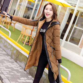 2016 New Fashion Winter Jacket Women Spring Coat Cotton Padded Long Slim Warm Jacket Coat Female Parka Coat Ladies Clothing