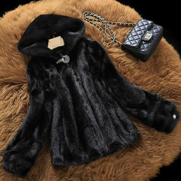 Water Mink Coat Fur Fur Jacket Coffin Short Known Haining 2017 New Winter With Hooded Mink