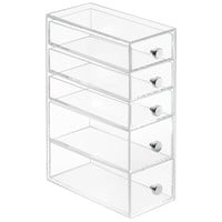 InterDesign Clarity Cosmetic Organizer for Vanity Cabinet to Hold Makeup, Beauty Products - 5 Drawers, Clear