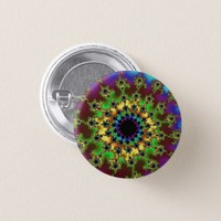 Green and Burgundy Rainbow Eye Small Round Button
