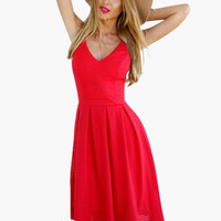 Red V-Neck Spaghetti Strap high Waisted Dress