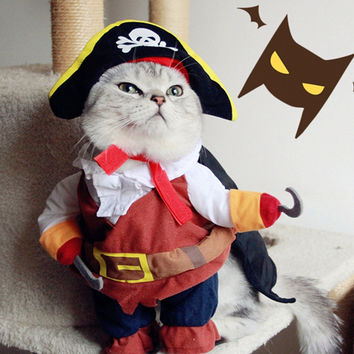 Funny Halloween pet cat dog Pirate costume clothes with a Skull hat for dog and cat Pet clothes coat Corsair palm free shiping