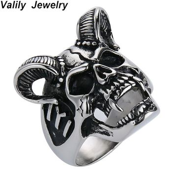 EdgLifU Drop Ship US Size 7-14 Cool Horn Goat Skull Ring Stainless Steel Mens Motorcycle Biker Zombie Vampire Skull Ring For Men