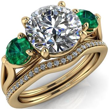 Mira Round Moissanite Emerald Side Split Shank Cathedral Hybrid Engagement Ring
