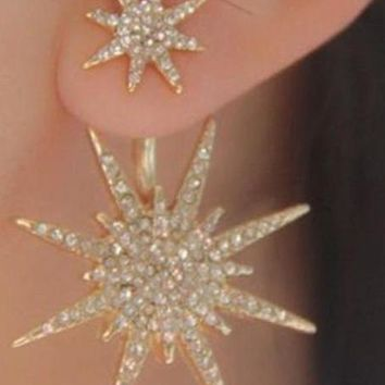 14K Yellow Gold Cubic Zirconia Starburst Drop Earrings