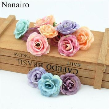 ICIKYE 100pcs 3cm Mini Rose Cloth Artificial Flower For Wedding Party Home Room Decoration Ma