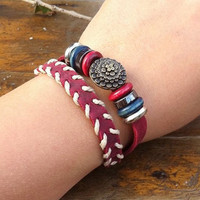 red leather bracelet, handmade metal bracelet, metal fashionable bracelet, braided bracelet, silver beads, flower bracelet
