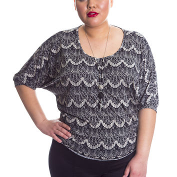 Plus Size Lace Print Top