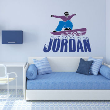 Snowboarder Wall Decal, Snowboard Wall Decal, Personalized Snowboard, Action Sports Decor, Winter Sports Decor, Snowboard Wall Decal